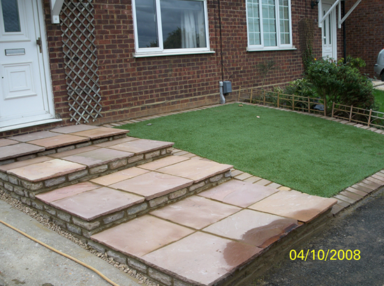 House front aspect, patio stone stepping and turfing - Hitchin
